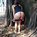 Esposa exibicionista na rua peladinha após academia